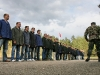 Visitors stand in formation  visitors during a visit to the  Soviet Adventure Park 1984 show in Nemencine about 25 km from capital Vilnius The park is located outside the Lithuanian capital Vilnius in an old bunker which served as a secret TV station in case of a nuclear attack